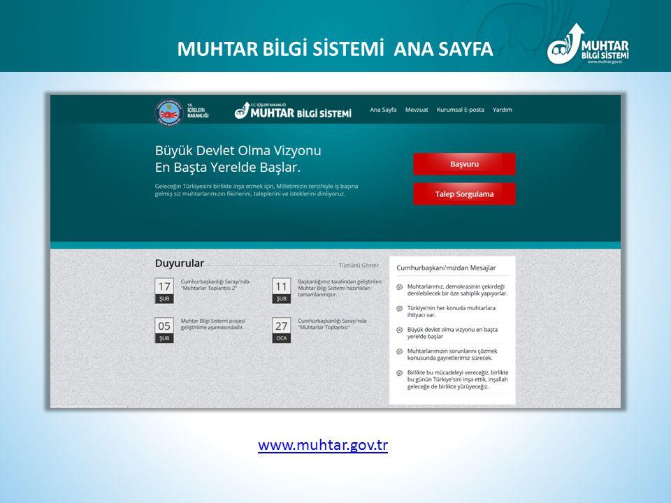 www.muhtar.gov.tr MUHTAR BİLGİ SİSTEMİ ANA SAYFA