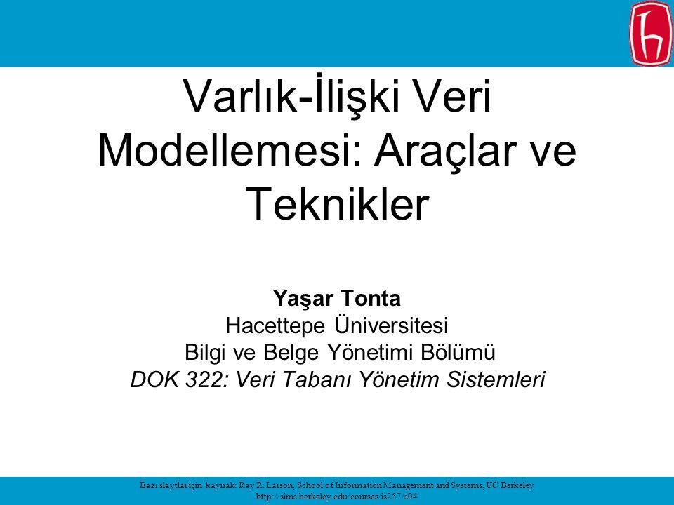 Varlık-İlişki Veri Modellemesi: Araçlar ve Teknikler Yaşar Tonta Hacettepe Üniversitesi Bilgi ve Belge Yönetimi Bölümü DOK 322: Veri Tabanı Yönetim Sistemleri Bazı slaytlar için kaynak: Ray R.