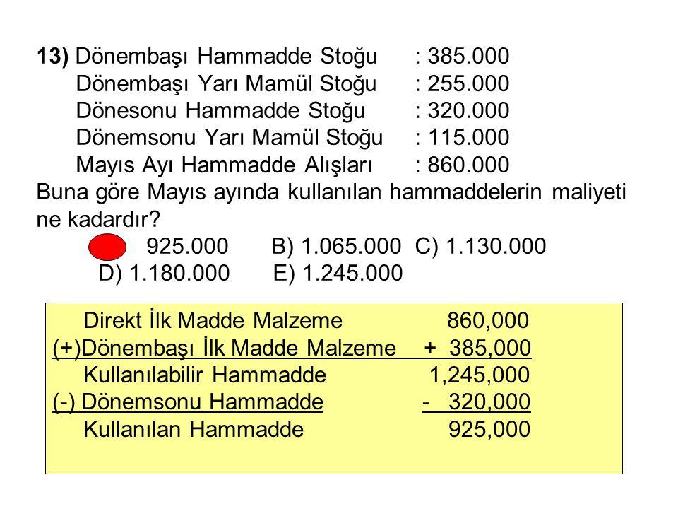 13) Dönembaşı Hammadde Stoğu: 385.000 Dönembaşı Yarı Mamül Stoğu: 255.000 Dönesonu Hammadde Stoğu: 320.000 Dönemsonu Yarı Mamül Stoğu: 115.000 Mayıs Ayı Hammadde Alışları: 860.000 Buna göre Mayıs ayında kullanılan hammaddelerin maliyeti ne kadardır.