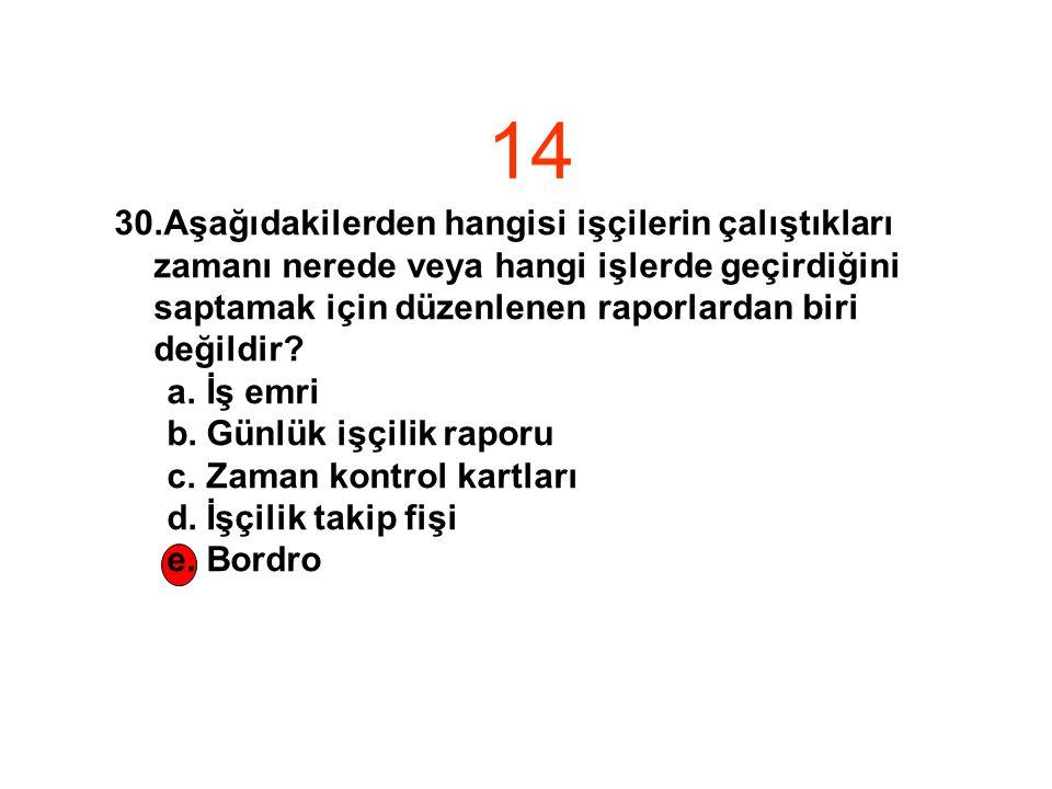 14 30.Aşağıdakilerden hangisi işçilerin çalıştıkları zamanı nerede veya hangi işlerde geçirdiğini saptamak için düzenlenen raporlardan biri değildir.