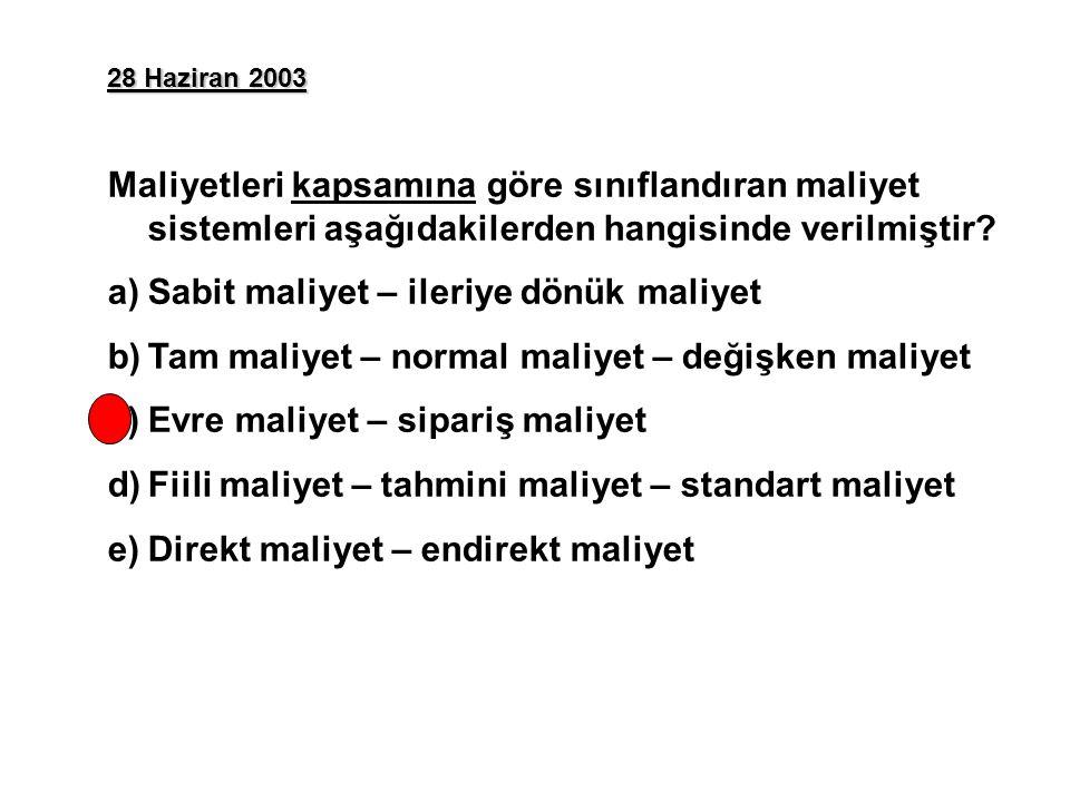 28 Haziran 2003 Maliyetleri kapsamına göre sınıflandıran maliyet sistemleri aşağıdakilerden hangisinde verilmiştir.