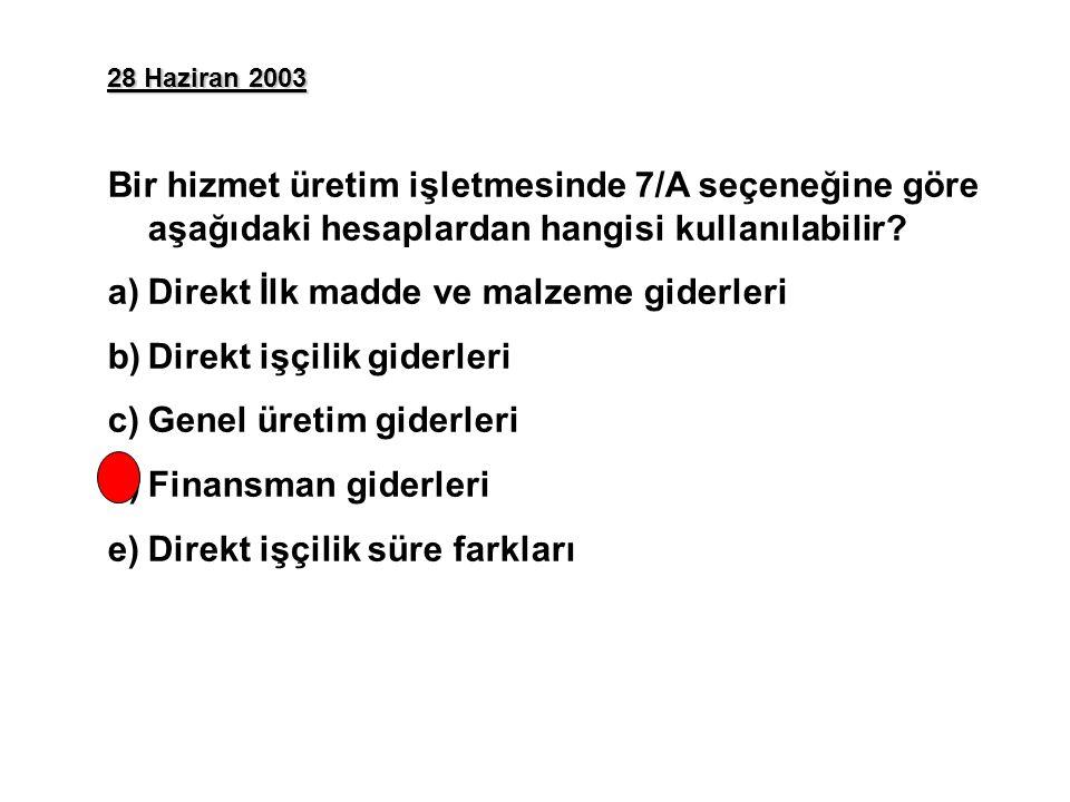 28 Haziran 2003 Bir hizmet üretim işletmesinde 7/A seçeneğine göre aşağıdaki hesaplardan hangisi kullanılabilir.