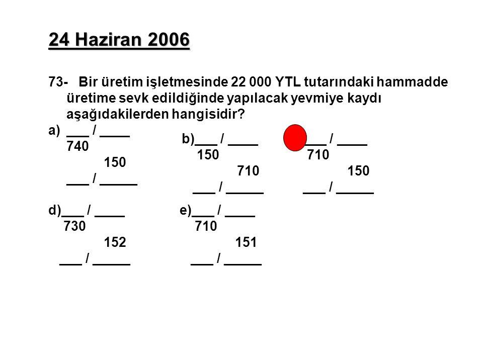 24 Haziran 2006 73- Bir üretim işletmesinde 22 000 YTL tutarındaki hammadde üretime sevk edildiğinde yapılacak yevmiye kaydı aşağıdakilerden hangisidir.