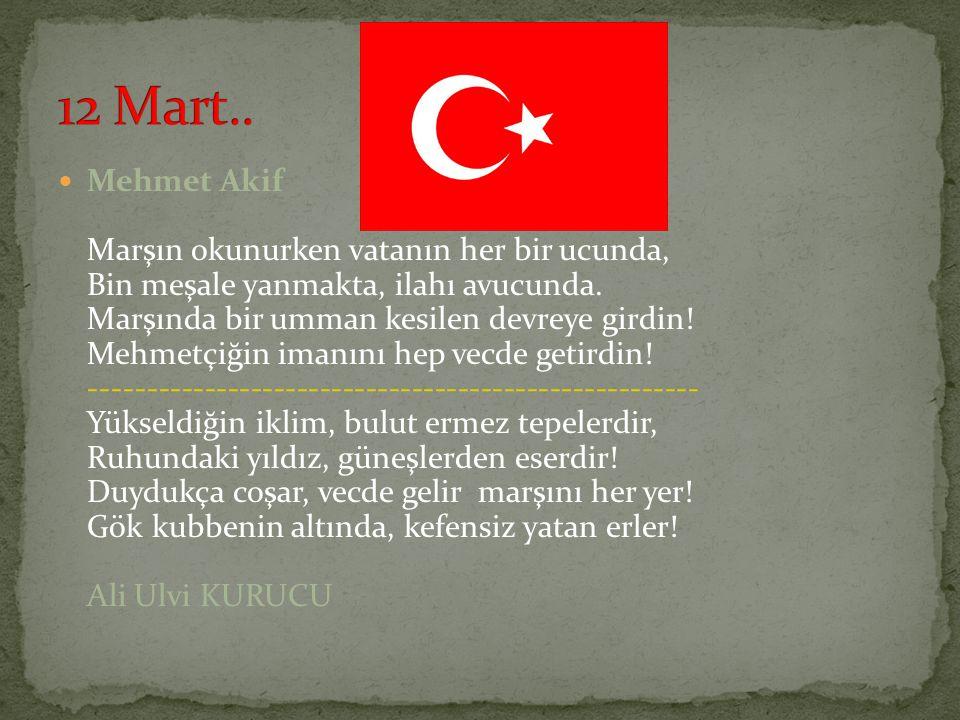 Mehmet Akif Marşın okunurken vatanın her bir ucunda, Bin meşale yanmakta, ilahı avucunda. Marşında bir umman kesilen devreye girdin! Mehmetçiğin imanı
