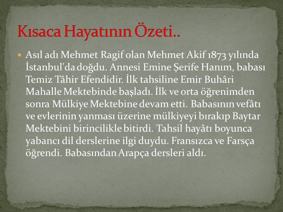 Asıl adı Mehmet Ragif olan Mehmet Akif 1873 yılında İstanbul'da doğdu. Annesi Emine Şerife Hanım, babası Temiz Tâhir Efendidir. İlk tahsiline Emir Buh
