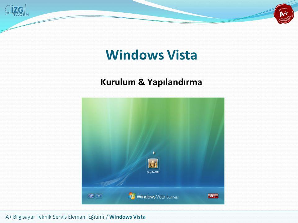 A+ Bilgisayar Teknik Servis Elemanı Eğitimi / Windows Vista Windows Vista Kurulum & Yapılandırma