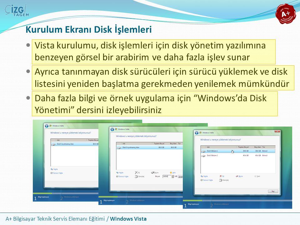 A+ Bilgisayar Teknik Servis Elemanı Eğitimi / Windows Vista Kurulum Ekranı Disk İşlemleri Vista kurulumu, disk işlemleri için disk yönetim yazılımına
