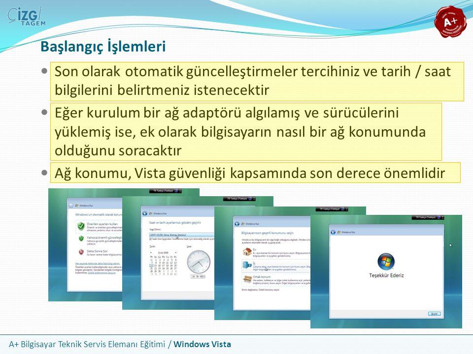 A+ Bilgisayar Teknik Servis Elemanı Eğitimi / Windows Vista Başlangıç İşlemleri Son olarak otomatik güncelleştirmeler tercihiniz ve tarih / saat bilgi