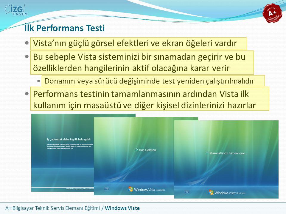 A+ Bilgisayar Teknik Servis Elemanı Eğitimi / Windows Vista İlk Performans Testi Vista'nın güçlü görsel efektleri ve ekran öğeleri vardır Bu sebeple V