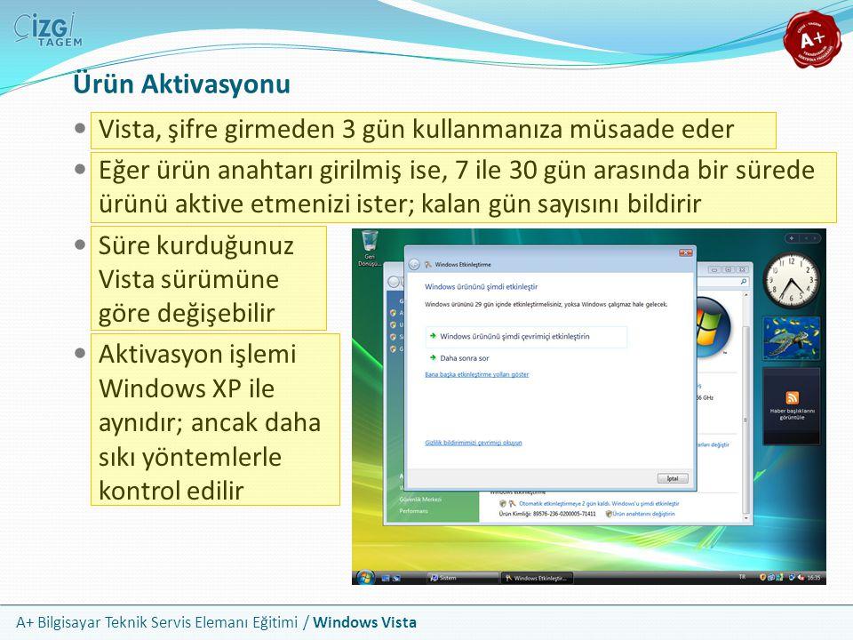 A+ Bilgisayar Teknik Servis Elemanı Eğitimi / Windows Vista Ürün Aktivasyonu Vista, şifre girmeden 3 gün kullanmanıza müsaade eder Eğer ürün anahtarı