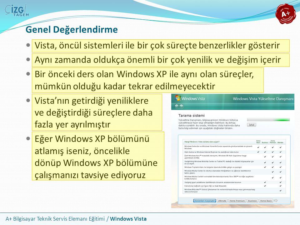 A+ Bilgisayar Teknik Servis Elemanı Eğitimi / Windows Vista Genel Değerlendirme Vista, öncül sistemleri ile bir çok süreçte benzerlikler gösterir Aynı