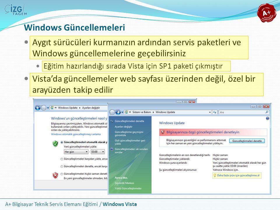 A+ Bilgisayar Teknik Servis Elemanı Eğitimi / Windows Vista Windows Güncellemeleri Aygıt sürücüleri kurmanızın ardından servis paketleri ve Windows gü