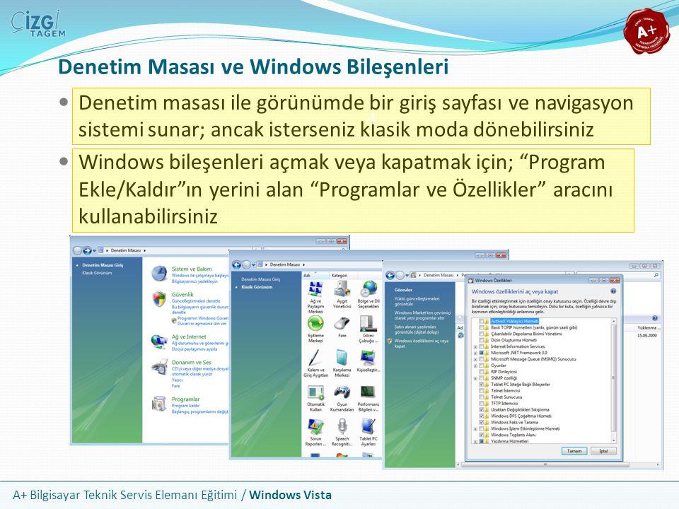 A+ Bilgisayar Teknik Servis Elemanı Eğitimi / Windows Vista Denetim Masası ve Windows Bileşenleri Denetim masası ile görünümde bir giriş sayfası ve na