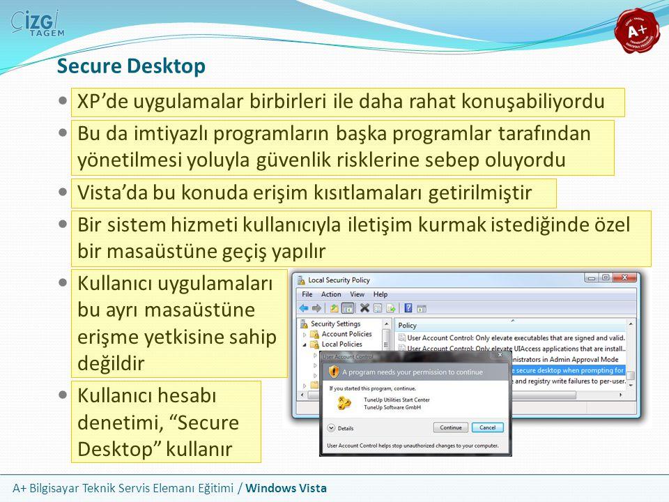 A+ Bilgisayar Teknik Servis Elemanı Eğitimi / Windows Vista Secure Desktop XP'de uygulamalar birbirleri ile daha rahat konuşabiliyordu Bu da imtiyazlı