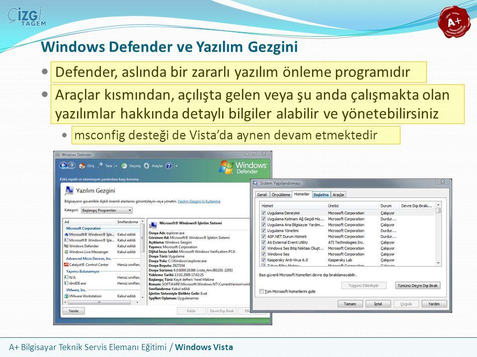 A+ Bilgisayar Teknik Servis Elemanı Eğitimi / Windows Vista Windows Defender ve Yazılım Gezgini Defender, aslında bir zararlı yazılım önleme programıd