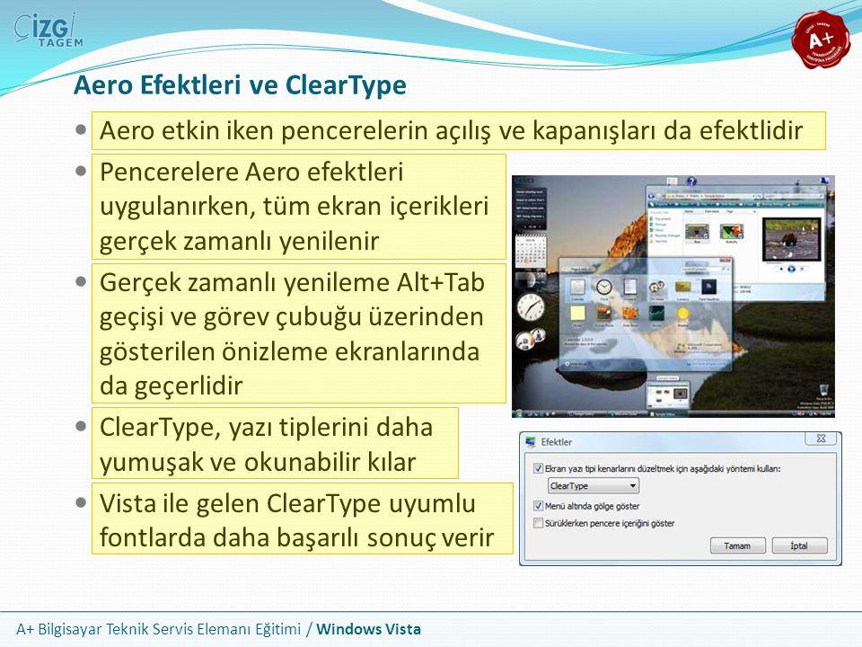 A+ Bilgisayar Teknik Servis Elemanı Eğitimi / Windows Vista Aero Efektleri ve ClearType Aero etkin iken pencerelerin açılış ve kapanışları da efektlid