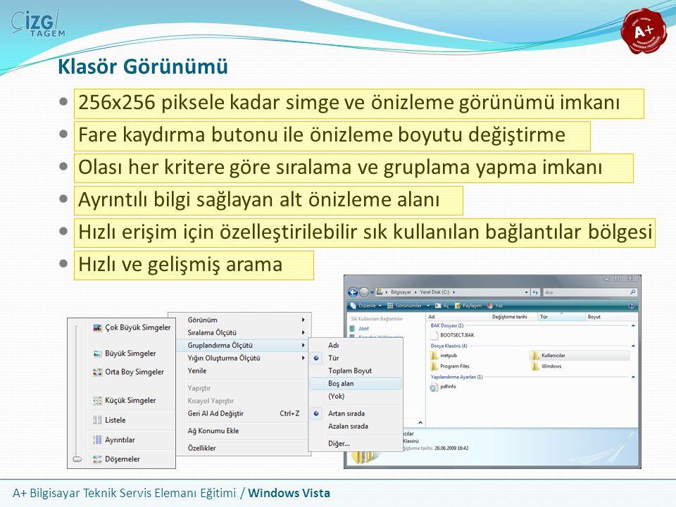 A+ Bilgisayar Teknik Servis Elemanı Eğitimi / Windows Vista Klasör Görünümü 256x256 piksele kadar simge ve önizleme görünümü imkanı Fare kaydırma buto