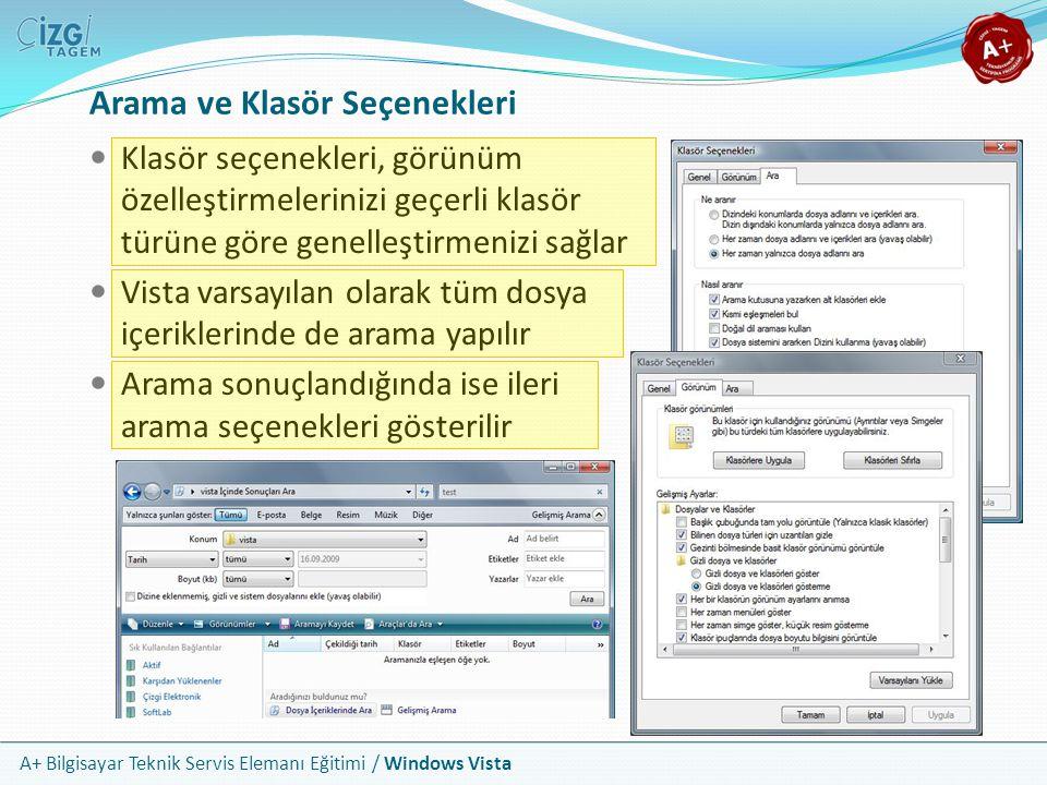 A+ Bilgisayar Teknik Servis Elemanı Eğitimi / Windows Vista Arama ve Klasör Seçenekleri Klasör seçenekleri, görünüm özelleştirmelerinizi geçerli klasö