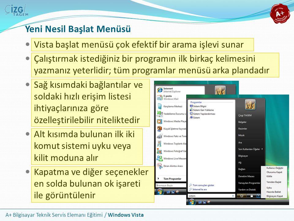 A+ Bilgisayar Teknik Servis Elemanı Eğitimi / Windows Vista Yeni Nesil Başlat Menüsü Vista başlat menüsü çok efektif bir arama işlevi sunar Çalıştırma