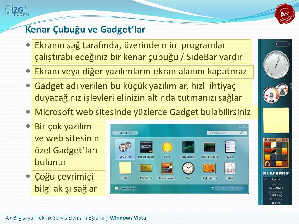 A+ Bilgisayar Teknik Servis Elemanı Eğitimi / Windows Vista Kenar Çubuğu ve Gadget'lar Ekranın sağ tarafında, üzerinde mini programlar çalıştırabilece