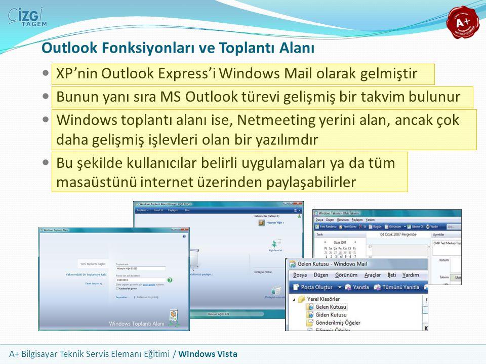A+ Bilgisayar Teknik Servis Elemanı Eğitimi / Windows Vista Outlook Fonksiyonları ve Toplantı Alanı XP'nin Outlook Express'i Windows Mail olarak gelmi