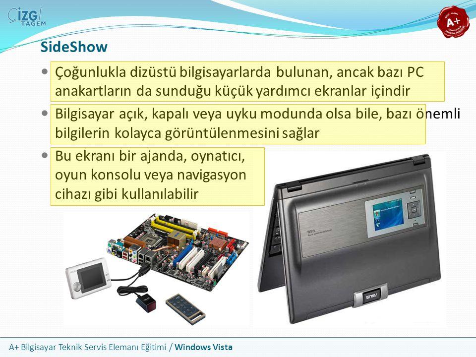 A+ Bilgisayar Teknik Servis Elemanı Eğitimi / Windows Vista SideShow Çoğunlukla dizüstü bilgisayarlarda bulunan, ancak bazı PC anakartların da sunduğu