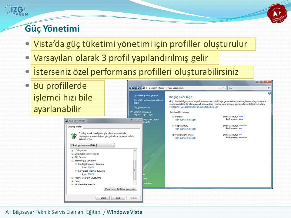 A+ Bilgisayar Teknik Servis Elemanı Eğitimi / Windows Vista Güç Yönetimi Vista'da güç tüketimi yönetimi için profiller oluşturulur Varsayılan olarak 3