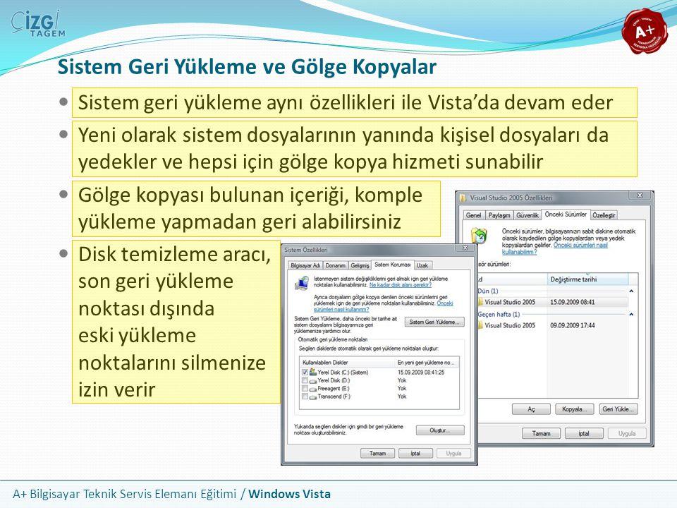 A+ Bilgisayar Teknik Servis Elemanı Eğitimi / Windows Vista Sistem Geri Yükleme ve Gölge Kopyalar Sistem geri yükleme aynı özellikleri ile Vista'da de