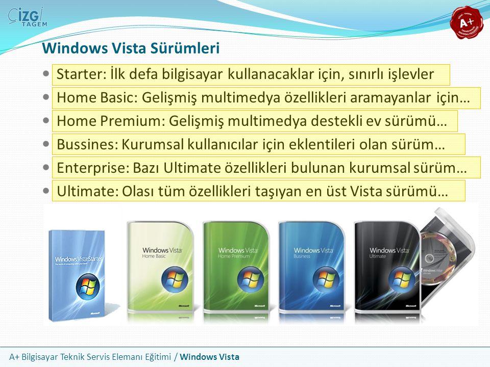 A+ Bilgisayar Teknik Servis Elemanı Eğitimi / Windows Vista Windows Vista Sürümleri Starter: İlk defa bilgisayar kullanacaklar için, sınırlı işlevler