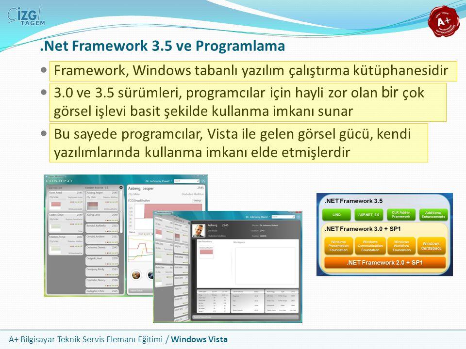 A+ Bilgisayar Teknik Servis Elemanı Eğitimi / Windows Vista.Net Framework 3.5 ve Programlama Framework, Windows tabanlı yazılım çalıştırma kütüphanesi