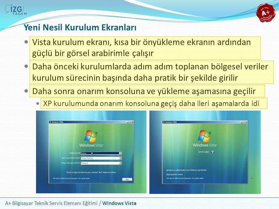 A+ Bilgisayar Teknik Servis Elemanı Eğitimi / Windows Vista Yeni Nesil Kurulum Ekranları Vista kurulum ekranı, kısa bir önyükleme ekranın ardından güç