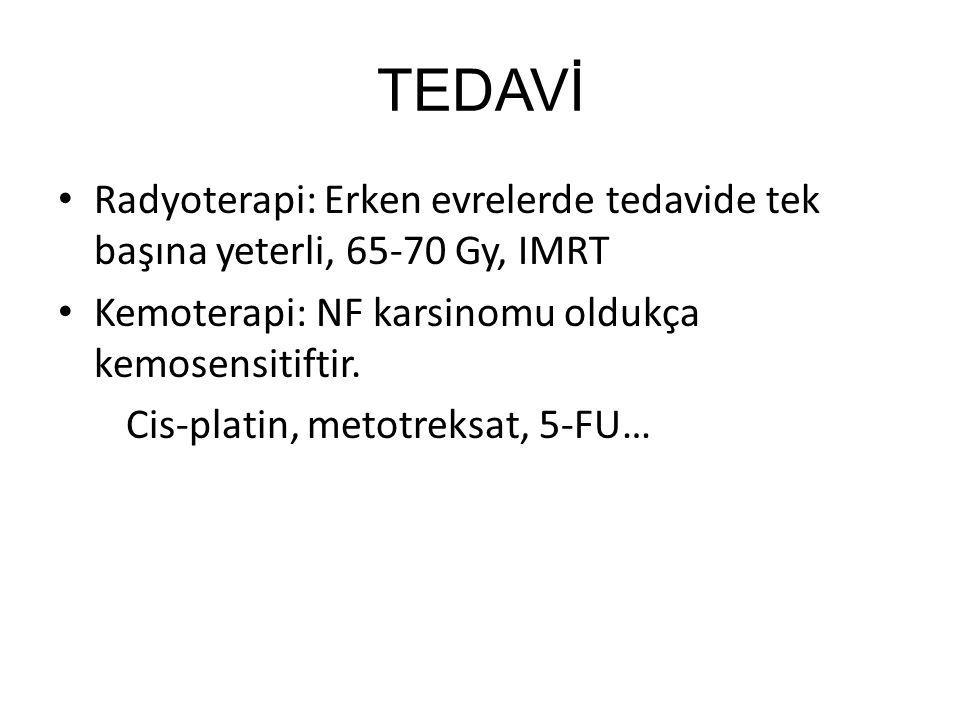 TEDAVİ Radyoterapi: Erken evrelerde tedavide tek başına yeterli, 65-70 Gy, IMRT Kemoterapi: NF karsinomu oldukça kemosensitiftir. Cis-platin, metotrek