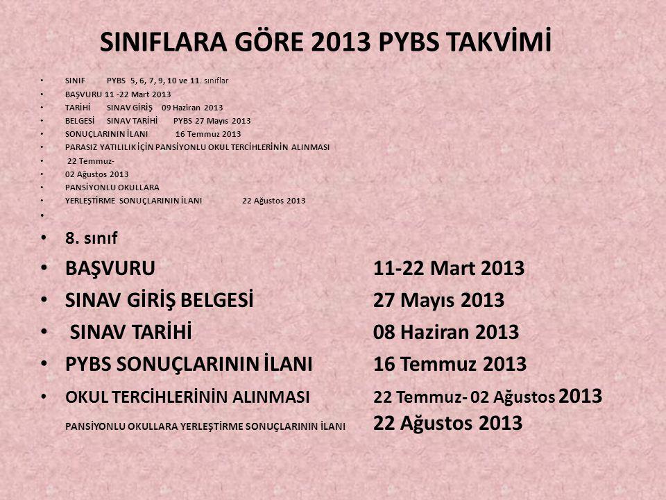 SINIFLARA GÖRE 2013 PYBS TAKVİMİ SINIF PYBS 5, 6, 7, 9, 10 ve 11.