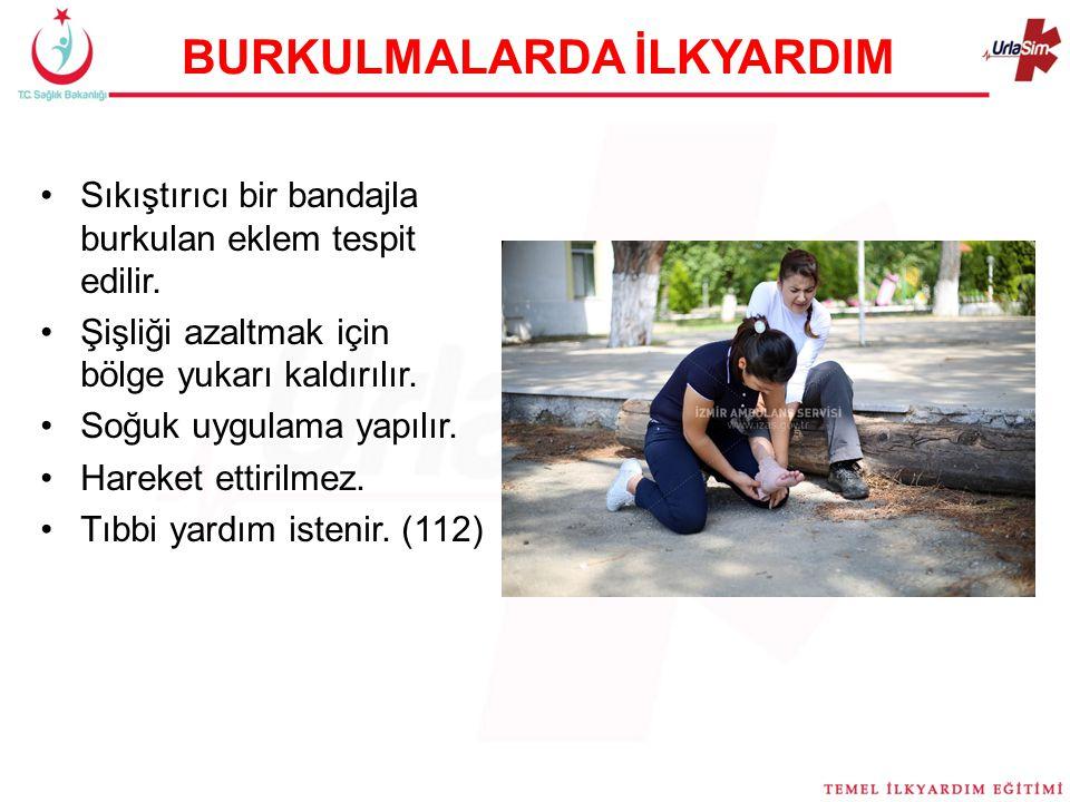 BURKULMALARDA İLKYARDIM Sıkıştırıcı bir bandajla burkulan eklem tespit edilir.
