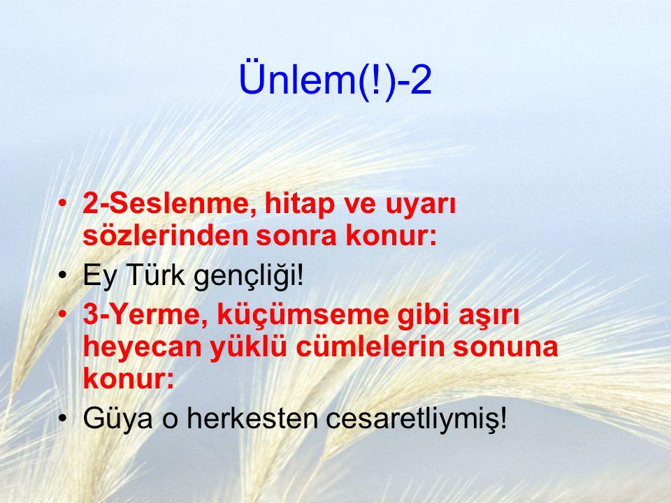 Ünlem(!)-2 2-Seslenme, hitap ve uyarı sözlerinden sonra konur: Ey Türk gençliği! 3-Yerme, küçümseme gibi aşırı heyecan yüklü cümlelerin sonuna konur: