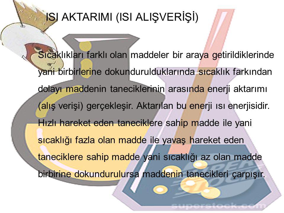 ISI AKTARIMI (ISI ALIŞVERİŞİ) Sıcaklıkları farklı olan maddeler bir araya getirildiklerinde yani birbirlerine dokundurulduklarında sıcaklık farkından