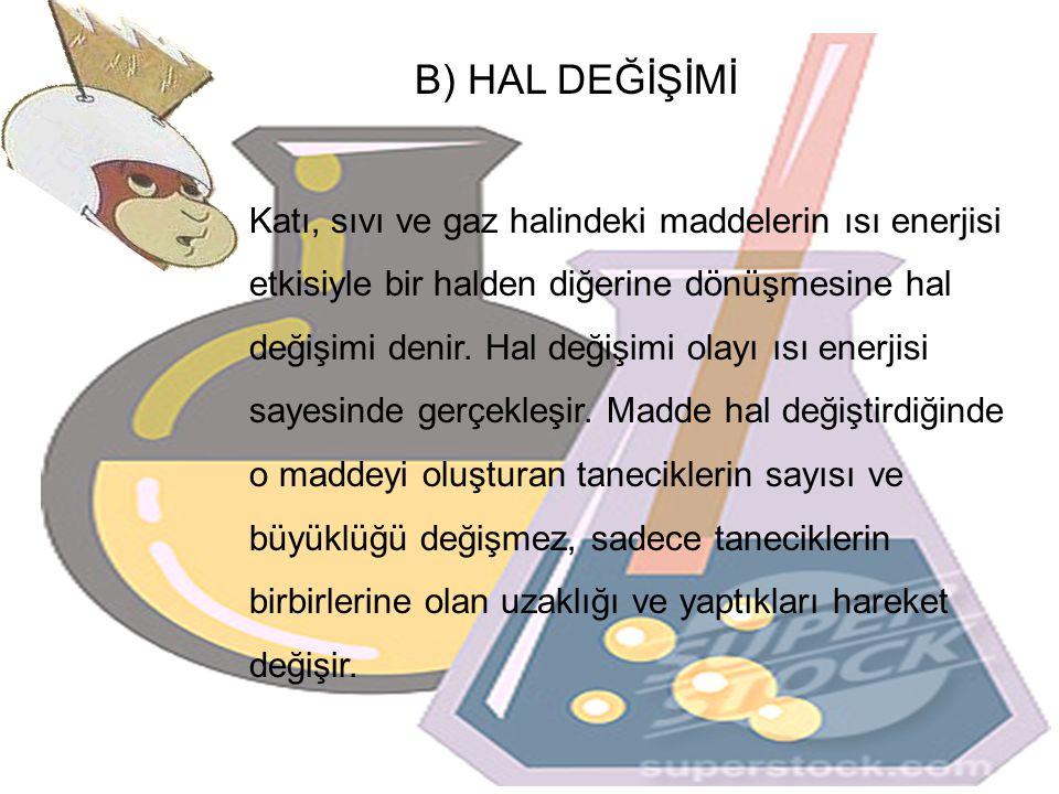 B) HAL DEĞİŞİMİ Katı, sıvı ve gaz halindeki maddelerin ısı enerjisi etkisiyle bir halden diğerine dönüşmesine hal değişimi denir. Hal değişimi olayı ı