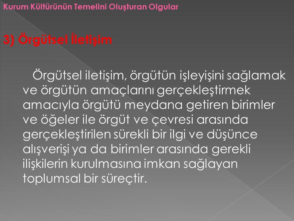 Kurum Kültürünün Temelini Oluşturan Olgular 3) Örgütsel İletişim Örgütsel iletişim, örgütün işleyişini sağlamak ve örgütün amaçlarını gerçekleştirmek