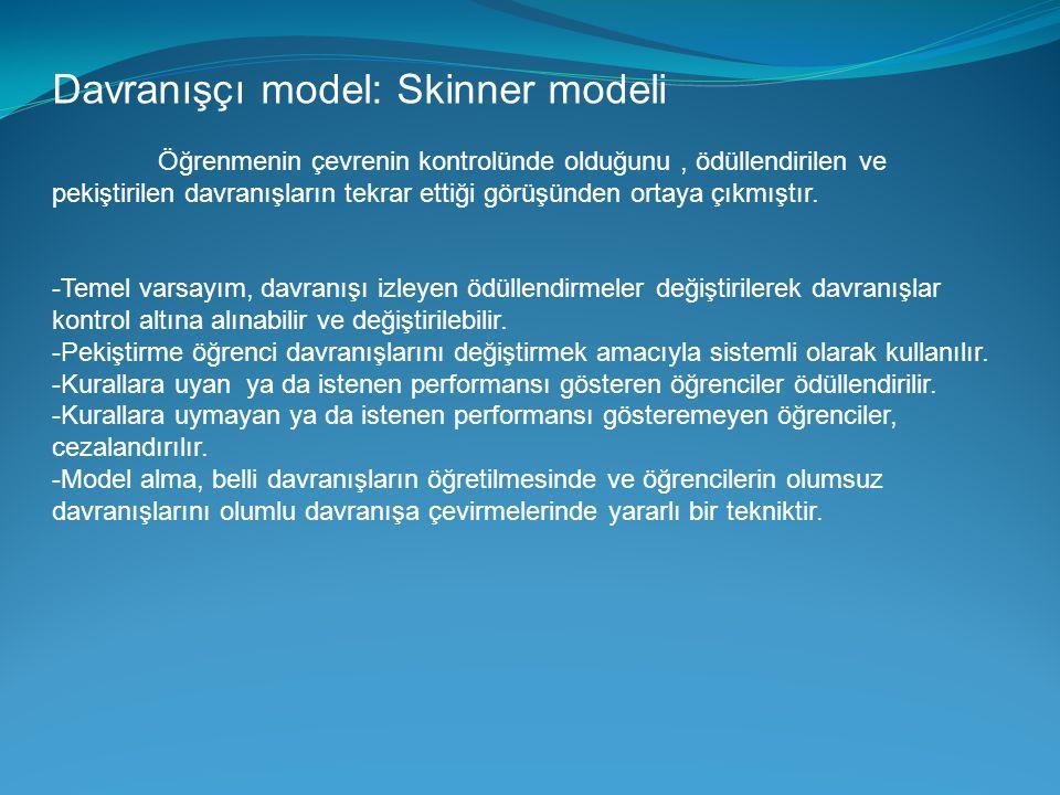Davranışçı model: Skinner modeli Öğrenmenin çevrenin kontrolünde olduğunu, ödüllendirilen ve pekiştirilen davranışların tekrar ettiği görüşünden ortay
