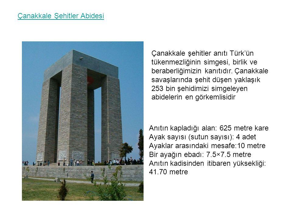 Çanakkale Şehitler Abidesi Çanakkale şehitler anıtı Türk'ün tükenmezliğinin simgesi, birlik ve beraberliğimizin kanıtıdır. Çanakkale savaşlarında şehi