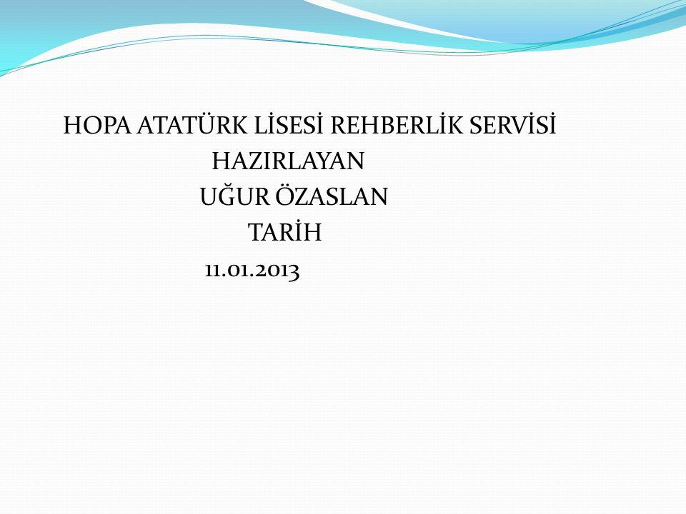 HOPA ATATÜRK LİSESİ REHBERLİK SERVİSİ HAZIRLAYAN UĞUR ÖZASLAN TARİH 11.01.2013