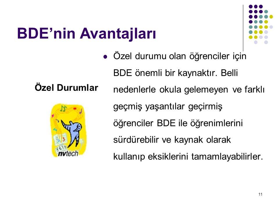 11 BDE'nin Avantajları Özel durumu olan öğrenciler için BDE önemli bir kaynaktır. Belli nedenlerle okula gelemeyen ve farklı geçmiş yaşantılar geçirmi