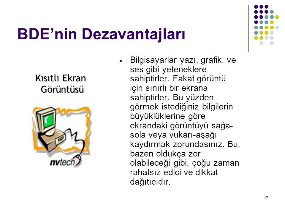 17 BDE'nin Dezavantajları  Bilgisayarlar yazı, grafik, ve ses gibi yeteneklere sahiptirler. Fakat görüntü için sınırlı bir ekrana sahiptirler. Bu yüz