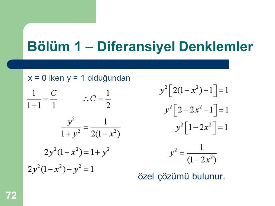 72 Bölüm 1 – Diferansiyel Denklemler x = 0 iken y = 1 olduğundan özel çözümü bulunur.