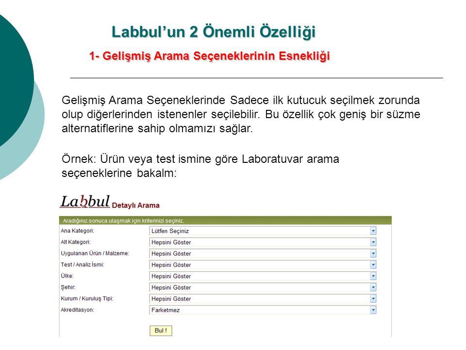 Labbul'un 2 Önemli Özelliği 1- Gelişmiş Arama Seçeneklerinin Esnekliği Gelişmiş Arama Seçeneklerinde Sadece ilk kutucuk seçilmek zorunda olup diğerlerinden istenenler seçilebilir.