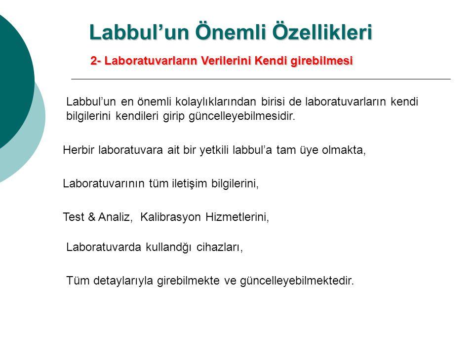 2- Laboratuvarların Verilerini Kendi girebilmesi Labbul'un en önemli kolaylıklarından birisi de laboratuvarların kendi bilgilerini kendileri girip güncelleyebilmesidir.