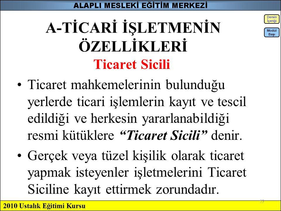 53 A-TİCARİ İŞLETMENİN ÖZELLİKLERİ Ticaret Sicili Ticaret mahkemelerinin bulunduğu yerlerde ticari işlemlerin kayıt ve tescil edildiği ve herkesin yar