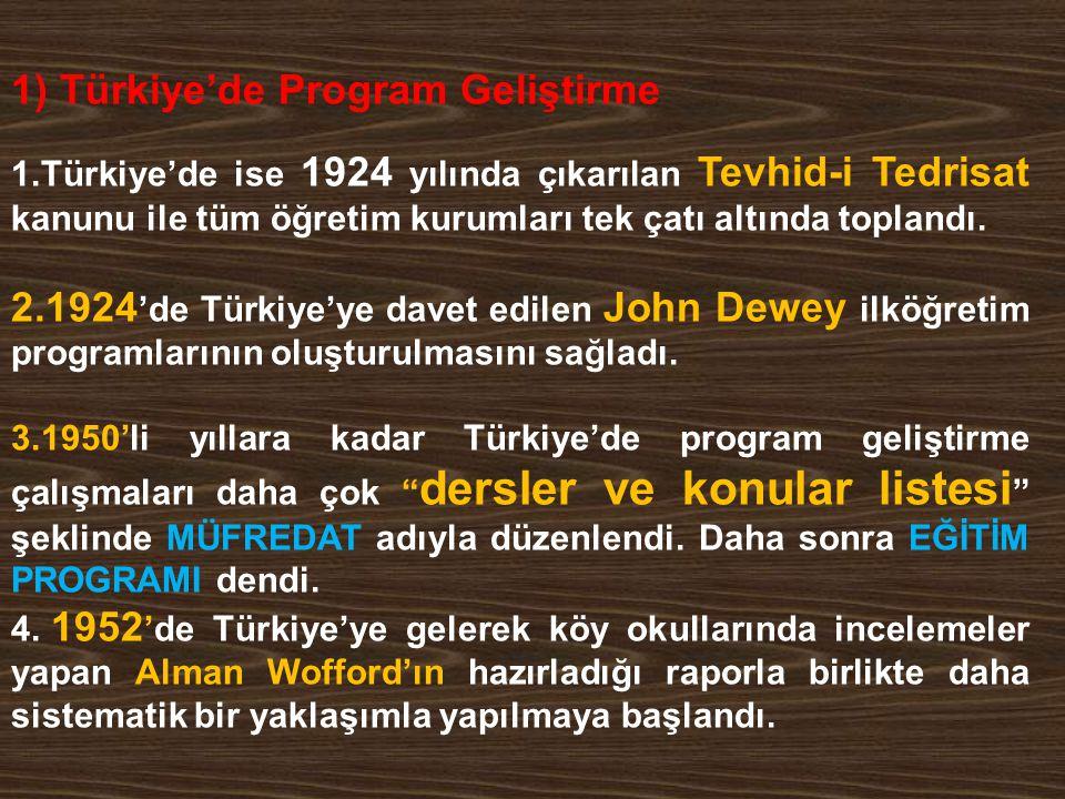 1) Türkiye'de Program Geliştirme 1.Türkiye'de ise 1924 yılında çıkarılan Tevhid-i Tedrisat kanunu ile tüm öğretim kurumları tek çatı altında toplandı.