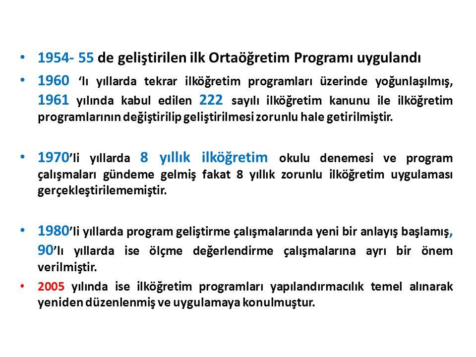 1954- 55 de geliştirilen ilk Ortaöğretim Programı uygulandı 1960 'lı yıllarda tekrar ilköğretim programları üzerinde yoğunlaşılmış, 1961 yılında kabul