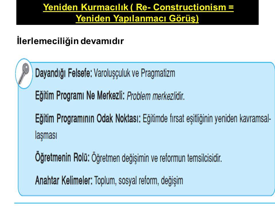 Yeniden Kurmacılık ( Re- Constructionism = Yeniden Yapılanmacı Görüş) İlerlemeciliğin devamıdır